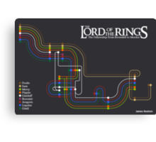 Lord of the Rings Fellowship Route Map Canvas Print