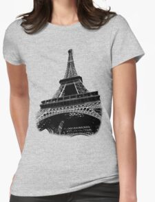 Eiffel Tower Digital Engraving Womens Fitted T-Shirt