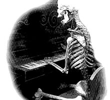 Halloween Skeleton Playing Piano! Digital Halloween Engraving. by digitaleclectic