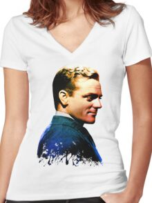 James Cagney, blue screen Women's Fitted V-Neck T-Shirt