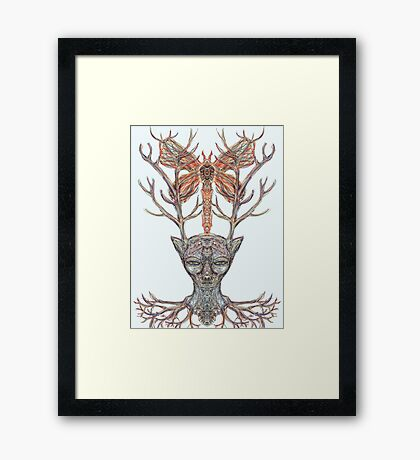 """""""We Were All Deer and Dragonfly Nation Once"""" Framed Print"""