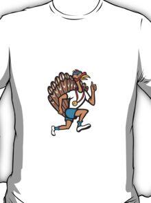 Turkey Run Runner Thumb Up Cartoon T-Shirt