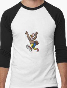 Turkey Run Runner Cartoon Isolated Men's Baseball ¾ T-Shirt