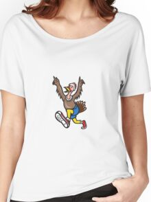 Turkey Run Runner Cartoon Isolated Women's Relaxed Fit T-Shirt