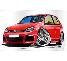 VW Golf (Mk6) R (5dr) Red Poster
