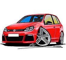 VW Golf (Mk6) R (5dr) Red Photographic Print