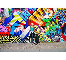 Jumping in front of the Bowery Mural. Photographic Print