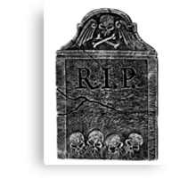 Creepy Halloween Tombstone. Horror and Gothic Digital Engraving Image Canvas Print