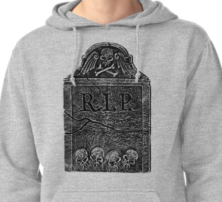 Creepy Halloween Tombstone. Horror and Gothic Digital Engraving Image Pullover Hoodie