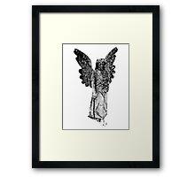 Graveyard Weeping Angel. Creepy Halloween Digital Engraving Image Framed Print
