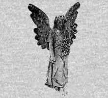 Graveyard Weeping Angel. Creepy Halloween Digital Engraving Image Long Sleeve T-Shirt