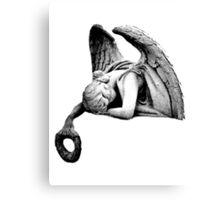 Graveyard Weeping Angel. Creepy Halloween Digital Engraving Image Canvas Print