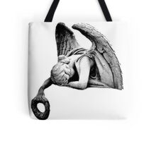 Graveyard Weeping Angel. Creepy Halloween Digital Engraving Image Tote Bag