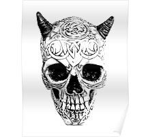 Demonic Halloween Skull. Digital Gothic Horror Engraving Image Poster
