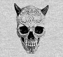 Demonic Halloween Skull. Digital Gothic Horror Engraving Image Hoodie