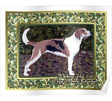 American Foxhound Dog Christmas Poster