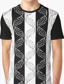 seamless pattern with many big leaves on white and black Graphic T-Shirt