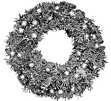 Christmas Wreath. Holiday Christmas Digital Engraving Image by digitaleclectic