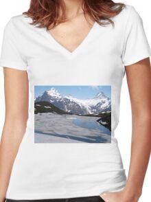 Bachalpesee with Fiescherhornen in the background, Switzerland Women's Fitted V-Neck T-Shirt