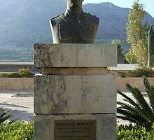 Commemorative Statue Bust on Island of Crete in Greece by JaguarJulie