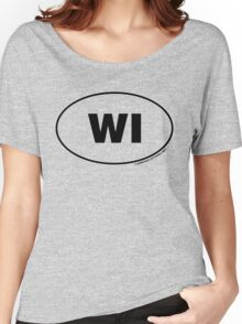 Wisconsin WI Euro Oval Sticker Women's Relaxed Fit T-Shirt