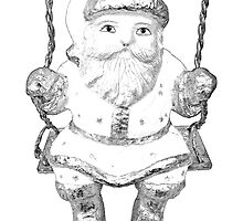 Santa Claus Swing Ornament. Christmas and Holiday Digital Engraving Image by digitaleclectic