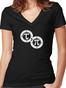 Tau vs Pi (dark) Women's Fitted V-Neck T-Shirt