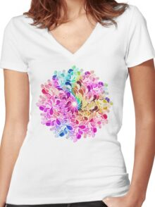 Rainbow Watercolor Paisley Flower Women's Fitted V-Neck T-Shirt