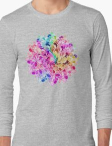 Rainbow Watercolor Paisley Flower Long Sleeve T-Shirt