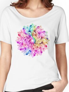 Rainbow Watercolor Paisley Flower Women's Relaxed Fit T-Shirt