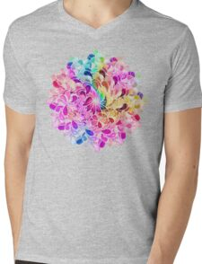 Rainbow Watercolor Paisley Flower Mens V-Neck T-Shirt