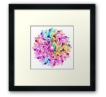 Rainbow Watercolor Paisley Flower Framed Print