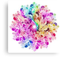 Rainbow Watercolor Paisley Flower Canvas Print