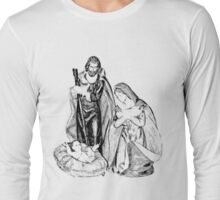 Christmas Nativity Scene. Christmas and Holiday Digital Engraving Image Long Sleeve T-Shirt