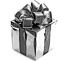Christmas Present. Christmas and Holiday Digital Engraving Image by digitaleclectic