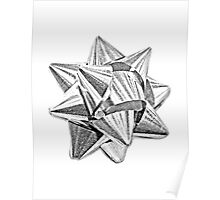 Christmas Bow. Christmas and Holiday Digital Engraving Image Poster
