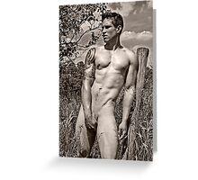 44801bw Male Art Nude Greeting Card