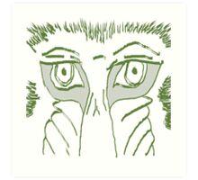 Baboon Stare In Green Art Print