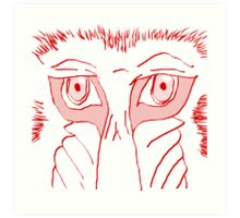 Baboon Stare Red White Art Print