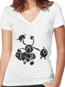 Hitmontop Women's Fitted V-Neck T-Shirt