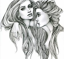 "Black and White Illustration Print ""Gemini Mind"" by LeahSandberg"