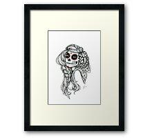 "Black and White Ink Illustration ""Jiibay"" Framed Print"