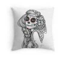"Black and White Ink Illustration ""Jiibay"" Throw Pillow"