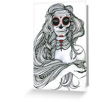 "Black and White Ink Illustration ""Jiibay II"" Greeting Card"