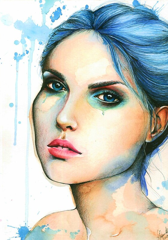 """Watercolor and Ink portrait ""Mara"""" by LeahSandberg ..."