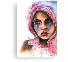 "Watercolor and Ink Portrait ""Katja"" Canvas Print"