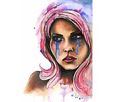 "Watercolor and Ink Portrait ""Katja"" Photographic Print"
