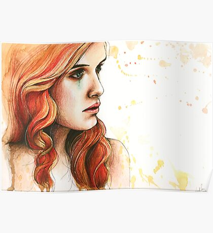 """Watercolor and Ink Portrait """"Further From You"""" Poster"""