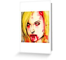"Watercolor and Ink Zombie Portrait ""You, it's what's for dinner"" Greeting Card"