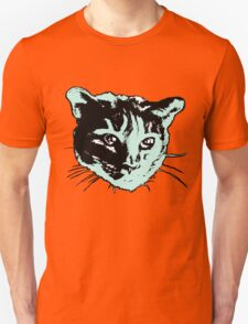 Cool Cat Head Graphic ~ sea green, black and white Unisex T-Shirt